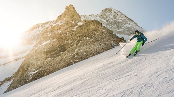 Professional-skier-on-a-mountain